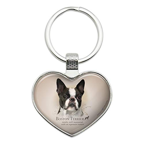 Boston Terrier Dog Breed Heart Love Metal Keychain Key Chain Ring
