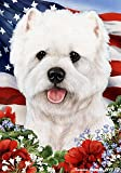 "West Highland White Terrier (2) Dog – Tamara Burnett Patriotic I Garden Dog Breed Flag 12"" x 17"" For Sale"