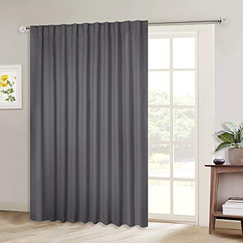 NICETOWN Sliding Door Curtains, Wide Thermal Blackout Patio Door Curtain Panel, Vertical Blind, Sliding Glass Door Drapes/Draperies with Back Tab & Rod Pocket (Gray, W80 x L84, 1 Piece)