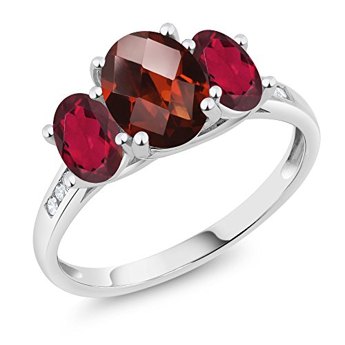 - Gem Stone King 10K White Gold Diamond Accent Checkerboard Red Garnet Red Mystic Topaz 3-Stone Ring 2.40 Ct (Size 7)