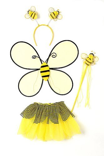 Yellow Toddler Girl Bumble Bee Wings Tutu Wand Costume Dress Up Set 2-4T]()