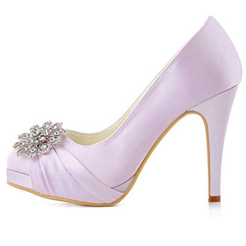 Court ElegantPark Wedding Closed Shoes Satin Lavender High Heel Platform Buckle Women Toe Evening Pumps TrP6agT