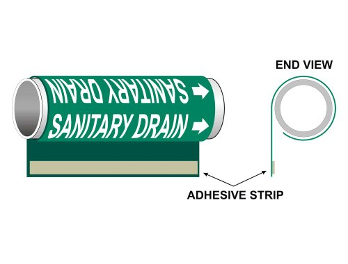 ASME A13.1 Sanitary Drain Pipe Marker Wrap, 8x5 in. Plastic with 0.5 in. Letters for Waste Sewer Sludge by ComplianceSigns