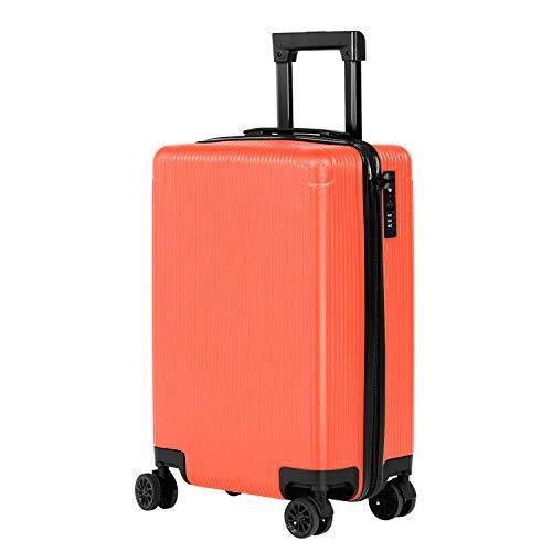 Murtisol Handgepäck ABS Reisekoffer Rollkoffer mit TSA Schloss, 360°Spinner 4 Rollen,4 Kunststoff Füβe,Verstellbarer Traggriffe,Orange