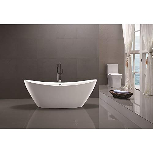 Vanity Art 71 inch Freestanding Acrylic Bathtub Modern Stand Alone Soaking Tub with Chrome Finish, UPC Certified, Round overflow Pop-up Drain – VA6807