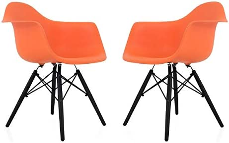 Overstock CozyBlock Scandinavian Orange Molded Plastic Dining Arm Chair