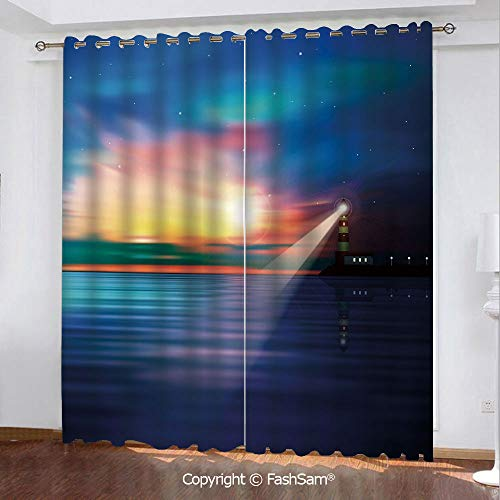 Thermal Insulated Blackout Curtains Majestic Dreamy Sky and Ocean Stars Rising Sun Beacon Bay Beach Printed Curtain for Living Room(108