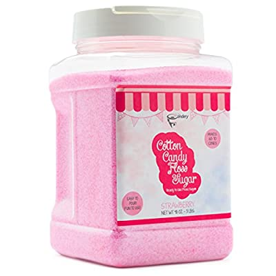 The Candery Cotton Candy Floss Sugar - Reusable Plastic Jars - Easy Pour and Scoop Spout - 48oz 3LB