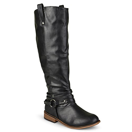 Journee Collection Womens Regular Sized, Wide-Calf and Extra Wide-Calf Ankle-Strap Knee-High Riding Boots Black, 11 Extra Wide Calf US by Journee Collection