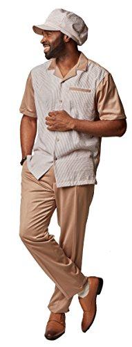 Saint Lorenzo Seersucker 3-Piece Set: HAT, Shirt & Pant (XL/38, TAN)
