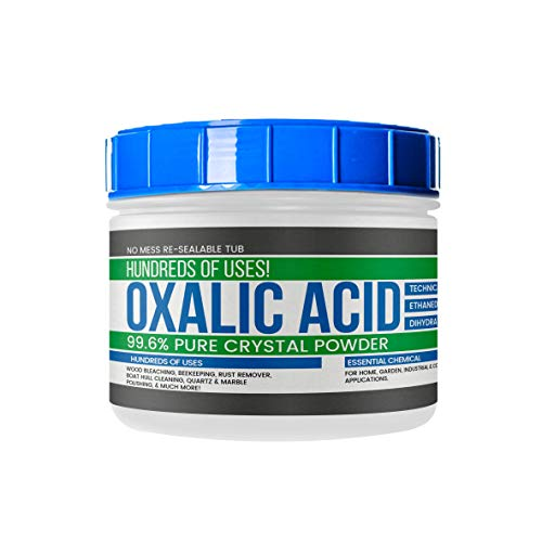 Oxalic Acid (2 lb (32 oz)) by Earthborn Elements, Resealable Tub with Scoop, Crystal Powder, C2H2O4, Wood Bleaching Agent, Rust Remover