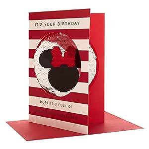 Hallmark Mickey & Minnie - Tarjeta de cumpleaños reversible con lentejuelas, tamaño mediano