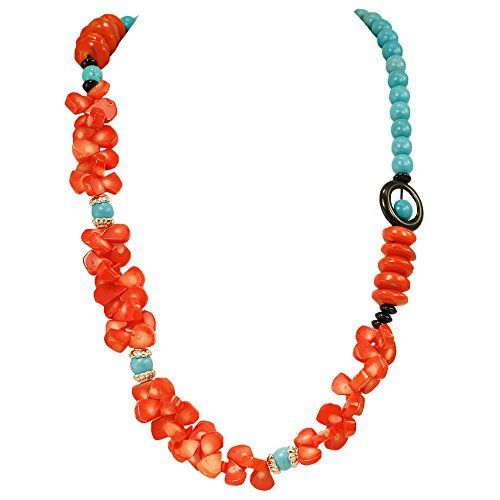 [002 Ny6design Blue Magnesite Turquoise, Orange-red Coral & Black Onyx Beads Long Necklace 30