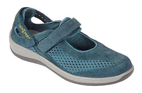 Orthofeet Plantar Fasciitis Heel Pain Relief Arch Support Orthopedic Diabetic Womens Mary Jane Shoes Sanibel Blue