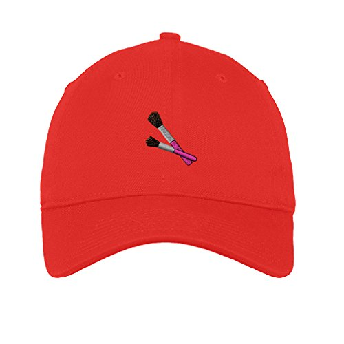 Beauty Make Up Brushes Embroidery Unisex Adult Flat Solid Buckle Cotton 6 Panel Low Profile Hat Cap - Red, One (Red Brush Cotton Hat)