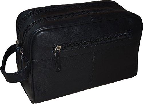 R&R Men's Genuine Leather Double Zipper Dopp Kit - Toiletry Travel Bag (Black ) Front Zipper Gusset Pocket