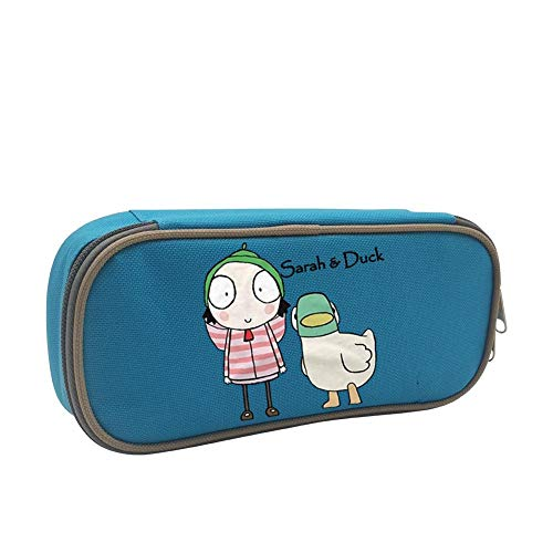 Kim Mittelstaedt Sarah Duck Custom Pencil Case - Big Capacity Double Zipper Multifunctional Stationery Blue Bag for Kids