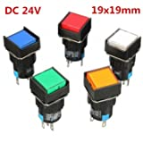 16mm DC 24V Push Button Self-Lock Switch Square LED Light Momentary Latching 19x19mm