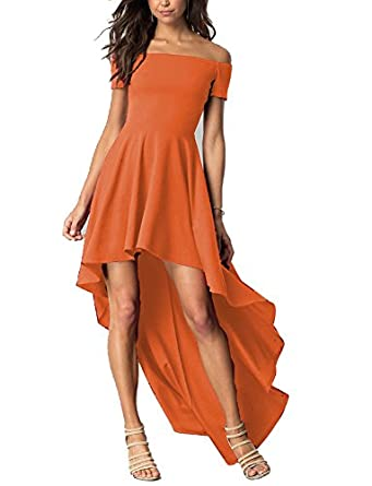 LL Bridal Womens High Low Off Shoulder Prom Dresses 2018 Long Formal Evening Party Gown Orange