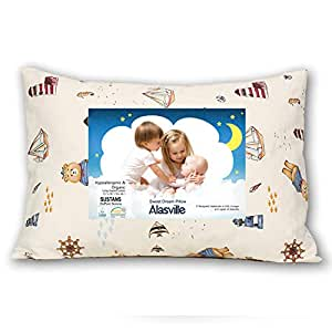 Toddler Pillow with Pillowcase Alasville Delicate Organic Cotton Shell Washable and Hypoallergenic Baby Pillow 13x18 Soft Yet Supportive Nap Pillow