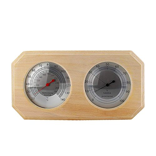 Sauna Finnish Accessories (MIFXIN Wooden Sauna Hygrothermograph Double Dial Thermometer Hygrometer Sauna Room Accessory)
