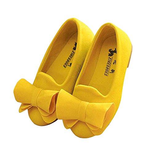 BININBOX Girls Bowknot Flat Shoes Princess Girls Dress Shoes Kids (12.5 M US Little Kid, Yellow)