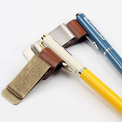 Pelle Fermasoldi E Segnalibro Lucidato Morsetto In Per Passante Con Penna Marrone Carta Del Colore Clip Di Credito Ramato Metallo Retro Qualità 5wCgqxFp