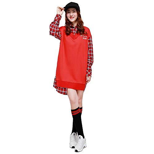 Red Pezzi Splicing Unica Casual E Autunno Abito Da Donna A Lxiangp Falso Inverno Taglia Manica Gonna Dolcevita Vestito Due Colori Lunga Scozzese wTzq1wa