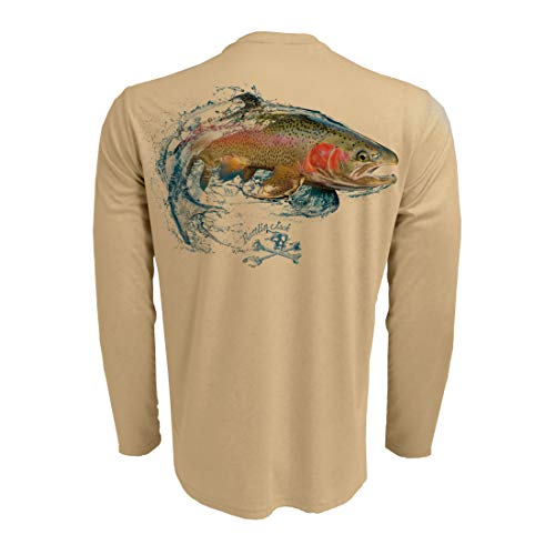 Rattlin Jack Men's Long Sleeve UV Fishing Shirt Rainbow Trout L - Long Trout