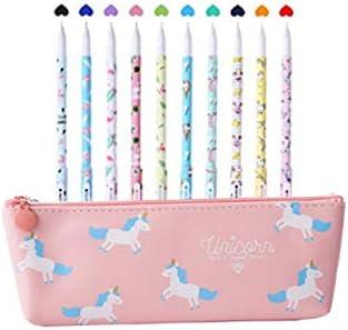 Southstar 10 Unicornio Bolígrafos de colores y 1 estuche para lápices de unicornio para amantes, flamencos y unicornio, un excelente regalo para una niña (rosa): Amazon.es: Oficina y papelería