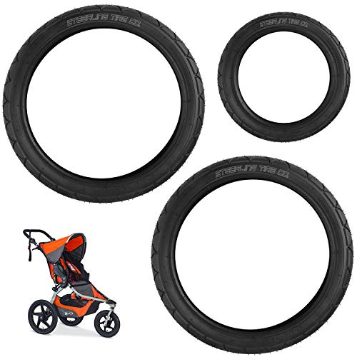 [3-Pack] Two 16' x 1.75 Rear and One 12.5' x 2.25 Front Wheel Replacement Tires for BOB Revolution SE/Pro/Flex Strollers & Stroller Strides - The Perfect BOB Stroller Tire Replacement Set