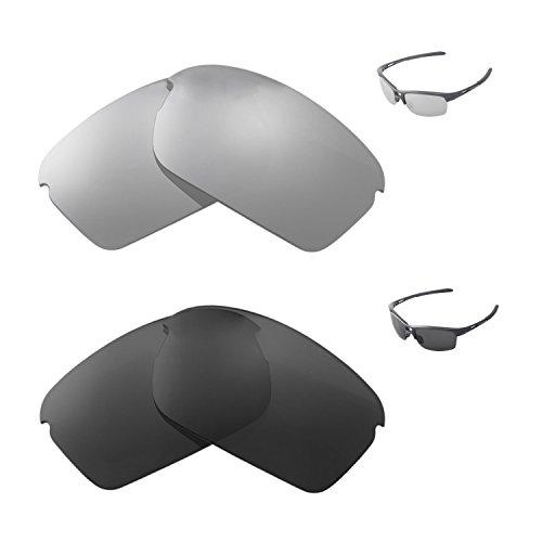 Walleva Polarized Titanium + Black Replacement Lenses For Oakley RPM Squared - P R Sunglasses