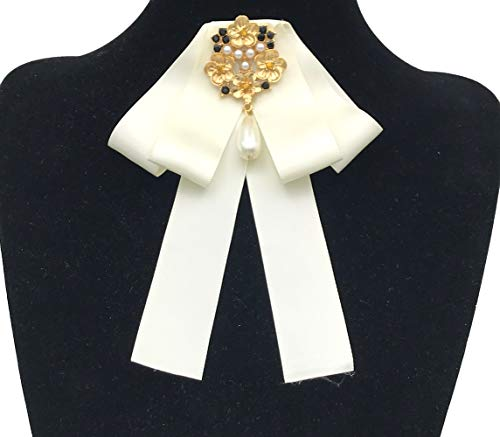 Rhinestone Crystal ribbon brooches Bow Brooch pre-tied bow tie for women Wedding Party Bow Tie ... (White)