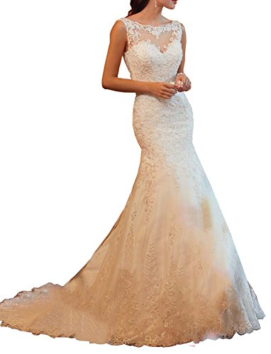 Eldecey Women's Jewel Neckline Mermaid Straps Lace Chapel Train Long Wedding Gown For Bride Ivory US4