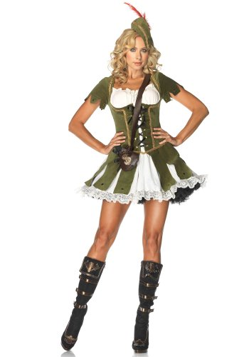 [Leg Avenue Women's 3 Piece Thief Of Hearts Peasant Dress And Hat With Feather And Satchel, Green/Multi,] (Period Piece Halloween Costumes)