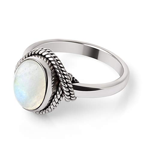 Chuvora 925 Sterling Silver White Moonstone Gemstone Oval Rope Edge Vintage Band Ring Size -