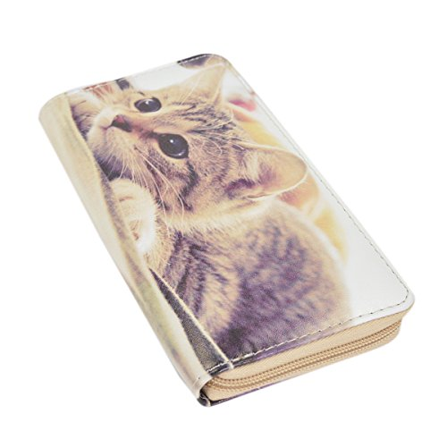 Brown Kitty Cat Animal Print PU Leather Zip Around Wallet