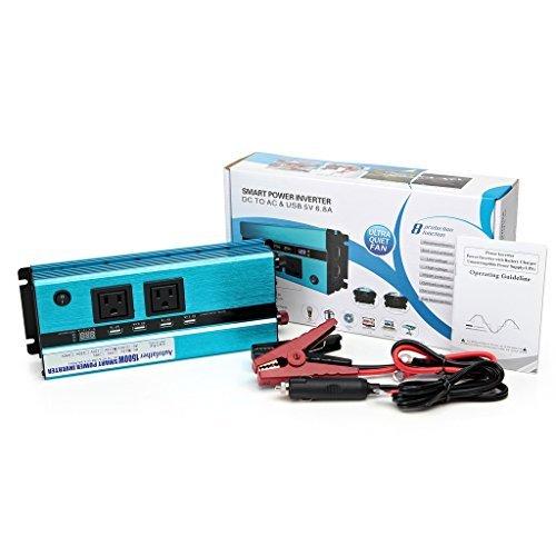 Digital Display Design Car Power Inverter 1500W DC to AC 110V 120V with Outlets & USB Ports Charger for Phone/Laptop/RVS/DVD Player - US Standard Plug