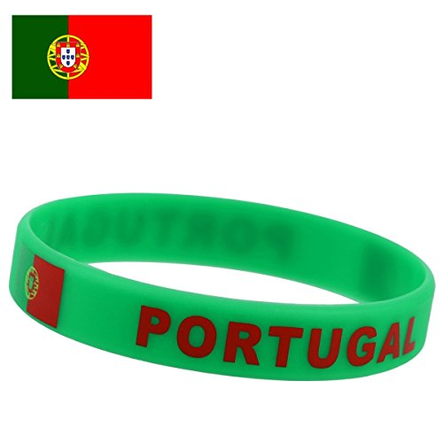 TDoperator Portugal Flag Silicone Bracelet FIFA World Cup 2018 For Soccer Fan Unisex Design Soft and Durable Wristband for National Football Supporters Fans Fashion Sport Wrist Strap Souvenir Gift ()