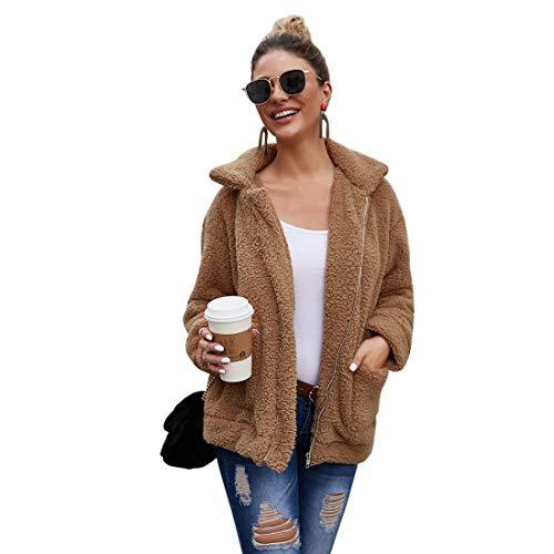 Womens Faux Shearling Coat Shaggy Oversized Jacket Sleeve Lapel Zip up Faux Casual Fashion Cardigan Coat (Camel,L)