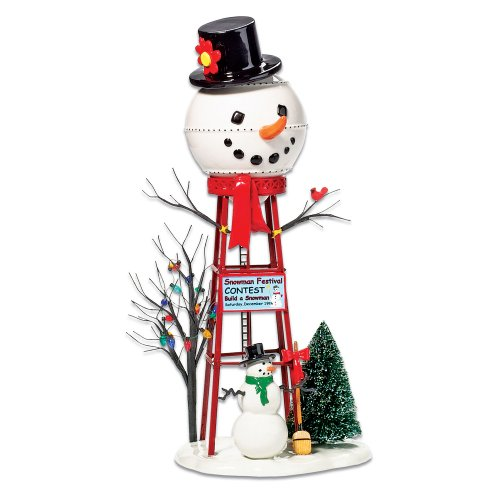 Department 56 Accessories for Villages Snowman Watertower Figurine Accessory (56 Snow Village Accessories Villages)