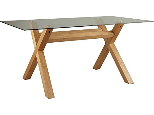 Oak Cross Leg Clear Glass Top Rectangle 4 or 6 Seater Dining Table Bevelled Edge