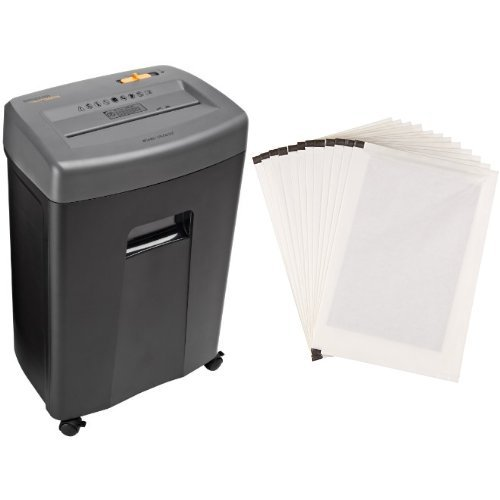 AmazonBasics 17-Sheet Cross-Cut Paper Shredder with Pullout Basket and Shredder Sharpening & Lubricant Sheets (Pack of 12) Bundle by AmazonBasics