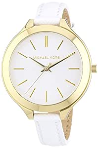 Michael Kors Watches Slim Leather Runway Watch (White/Gold)