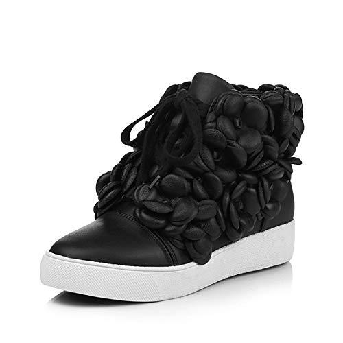 ZHZNVX Automne Black Noir Femme Amande amp; Cuir Baskets Chaussures Creepers Hiver Confort Nappa BxrTFBpwIq