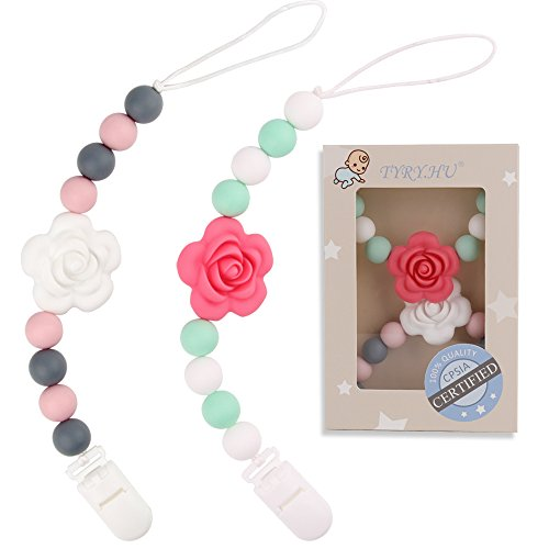 - TYRY.HU Pacifier Clips Silicone Teething Beads BPA Free Binky Holder for Girls, Boys, Baby Shower Gift, Teether Toys, Soothie, Mam, Drool Bibs, Set of 2 (Pink, White Roses)