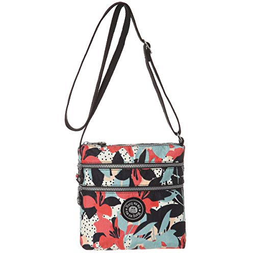 Multi-Pocket Crossbody Purse Bags for Women Travel Shoulder Bag(Flower)