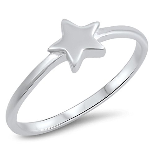 Classic Star Ring New .925 Sterling Silver Cute Simple Band Size 5
