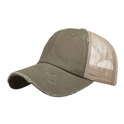 Unisex Baseball Cap, Vintage Visor Cap Adjustable Mesh Criss Cross Strap Messy Buns Trucker Ponycap Ponytail Hat for Women