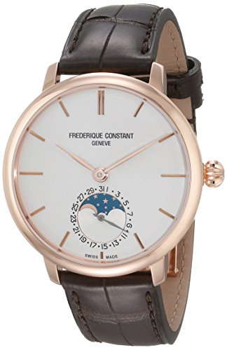 Frederique Constant Men's 'Slim Line' Silver Dial Brown Leather Strap Moonphase Swiss Automatic Watch - Swiss Incabloc